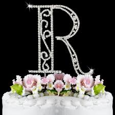r roman wf monogram wedding cake toppers