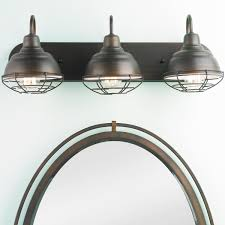 Traditional Bathroom Light Fixtures by Industrial Cage 3 Light Vanity Light Vanities Industrial And