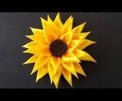 sunflower ribbon diy for how to make kanzashi satin ribbon sunflower 6