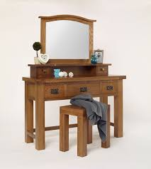 Unique Vanity Table Furniture Rectangle White Wooden Dressing Table With Glass Top