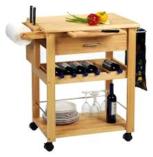 matchless mobile kitchen island with wine rack and pull out