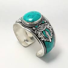 turquoise stone bracelet images Craft himalaya jewelry handcrafted tibetan green turquoise stone jpeg