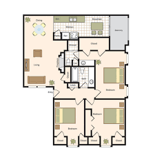 3 Bed 2 Bath Floor Plans by Floor Plans The Bordeaux Luxury Apartment Living In The Uptown