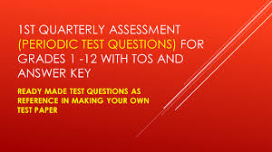 ready made test questions with tos and answer key for grades 1 12