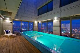 admirable rectangular pool with great glazed window panel also