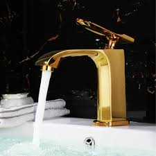 palermo gold finish waterfall bathroom sink faucet all in one