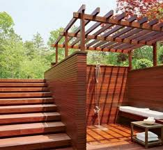 awesome backyard landscaping with bathroom deck for fresh look