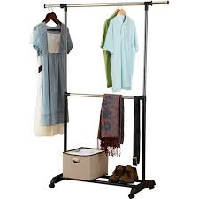 mainstays adjustable 2 tier rolling garment rack chrome and black