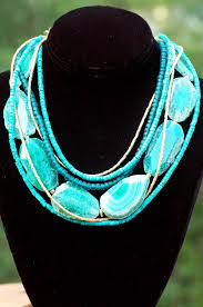 green agate necklace images Blue green agate slab turquoise gold multi strand statement necklace jpg