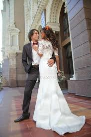lace mermaid wedding dress lace the shoulder court ivory half sleeve trumpet