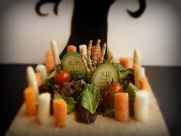halloween graveyard salad fork and beans