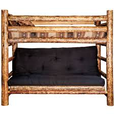 Wooden Log Beds Glacier Rustic Twin Over Futon Bunk Bed Rustic Log Furniture By