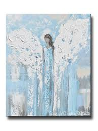 Light Turquoise Paint by Original Angel Painting Abstract Blue White Guardian Angel Wall