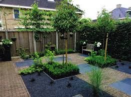 beautiful courtyard decoration with green plants garden and wooden