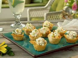 canape cups recipes mini phyllo cups filled with shrimp salad recipe paula deen