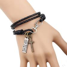 men bracelet cross images Leather men bracelet jewelry man cross bracelet wristband charm jpg