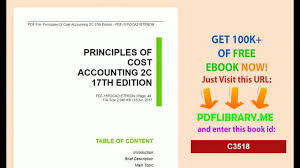 principles of cost accounting 2c 17th edition video dailymotion