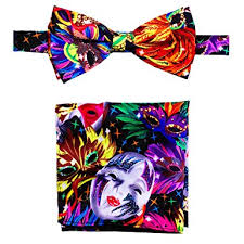 mardi gras bow tie mardi gras colorful mask printed bow tie and handkerchief set at