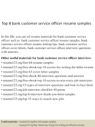 sample of banking resume top8bankcustomerserviceofficerresumesamples 150618092157 lva1 app6891 thumbnail 4 jpg cb 1434619362