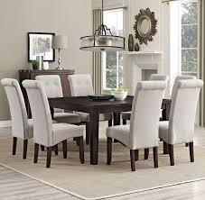 amazon com simpli home 9 piece cosmopolitan dining set natural amazon com simpli home 9 piece cosmopolitan dining set natural linen kitchen dining