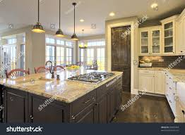 luxury kitchen brightly lit center cooking stock photo 50872444
