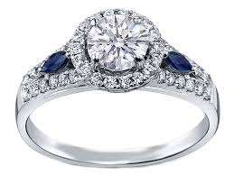 sapphire accent engagement rings halo engagement ring blue sapphire accents in 14k white
