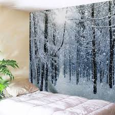 snow forest print tapestry wall hanging art grey white w inch l