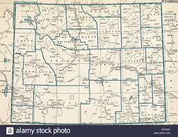 map of wyoming map of wyoming state 1930 s stock photo royalty free image