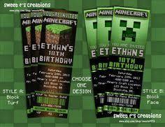 minecraft ticket invitation minecraft birthday party diy
