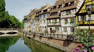 boat tour and restaurants along colmar france canal stock video