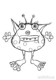 Vector Of Cartoon Spotted And Horned Monster Outlined Coloring Coloring Pages Monsters