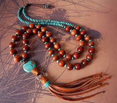 beaded necklace with tassel images Leather tassel necklace turquoise stone from prayerfeather on jpg