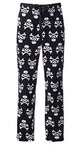 mens patterned microfleece lounge pajama bottoms large skulls