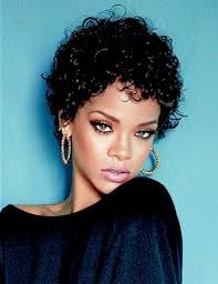 rihanna curly short hair hair style and color for woman