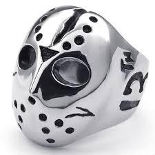 halloween rings konov polished stainless steel men u0027s ring halloween jason mask