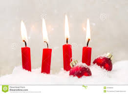 Red And White Christmas Lights by Four Red Candles For Christmas Classic Red And White Stock Photo