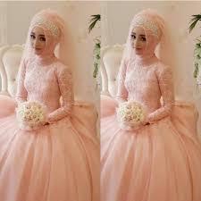 best selling 2015 pink muslim wedding dresses lace chiffon beads