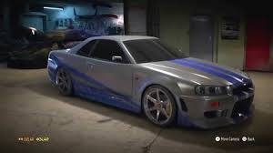 skyline nissan 2015 need for speed 2015 2 fast 2 furious skyline r34 build paul