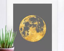 Planet Gold Decor Moon Print Moon Poster Moon Art Moon Wall Art Full Moon Gold