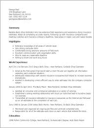 Reading Teacher Resume Professional Body Shop Estimator Templates To Showcase Your Talent