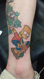 i present to you bart simpson skateboarding on pizza jackie at
