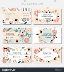 Standard Invitation Card Sizes Six Business Cards Floral Elements Complied Stock Vector 687805708
