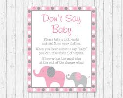 clothespin baby shower pink elephant don t say baby elephant baby shower
