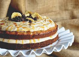 chip banana layer cake with salted caramel frosting