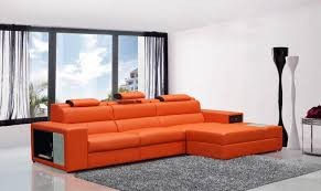 Orange Leather Sectional Sofa Vig Contemporary Divani Casa Polaris Mini Orange Bonded Leather