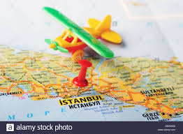 istanbul turkey map up of istanbul turkey map with pin and airplane stock