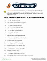 preposition examples worksheet education com