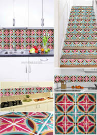 25cmx25cm colored tile decals set of 16 tile stickers for kitchen