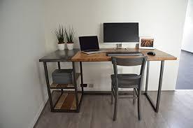 bureau industriel bois et metal bureau industriel en bois et métal amazon fr handmade