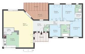plan maison 2 chambres plain pied plan maison plain pied 3 chambres gratuit de rectangle newsindo co